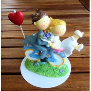 Brautpaar - auf Fahrrad mit Herz