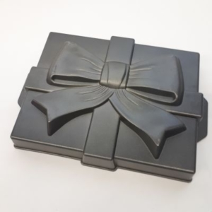 Backform Geschenk mit Schleife grau